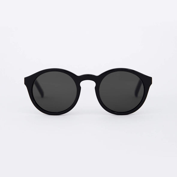 Unisex black sunglasses.