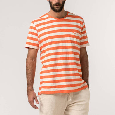 Salmon and white striped tee with natural lines of 'flamê' knit fabric.