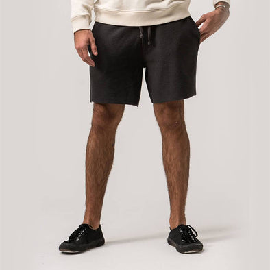 Dark grey shorts tailored from a rustic textured cotton-blend.