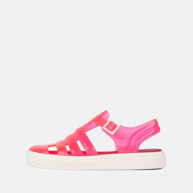 Translucid neon pink synthetic 90s style sandals.