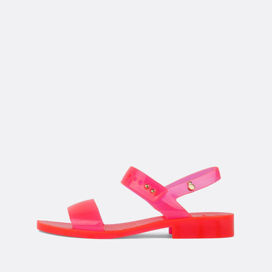 Translucid neon pink synthetic open sandals.