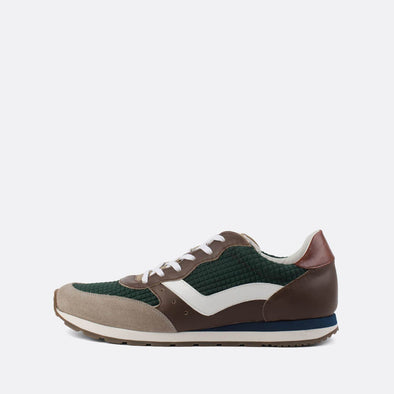 Classic runners in paneled leather and suede in green and brown shades.
