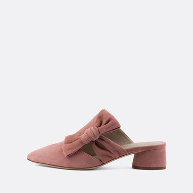 Light pink elegant mules with a long flowing lace and round heel.