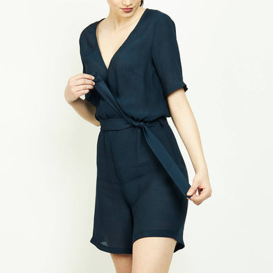 Timeless navy blue beach wrap up playsuit.