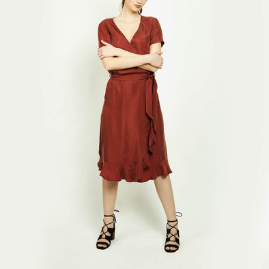 Bordeaux wrap up cupro dress with round bottom ruffle.