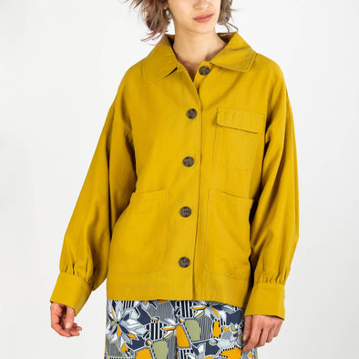 Mustard oversized fit jacket with large balloon sleeves and pleat detailing on the cuff.