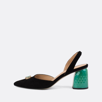 Black suede slingback pumps with distinct green heel and diamante detail.