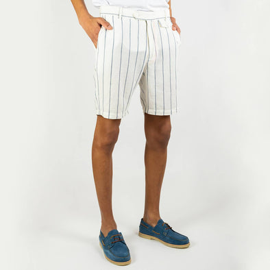 White smart-casual shorts with blue stripes, 2 reverse welt pockets and a small coin pocket to the front waist area.