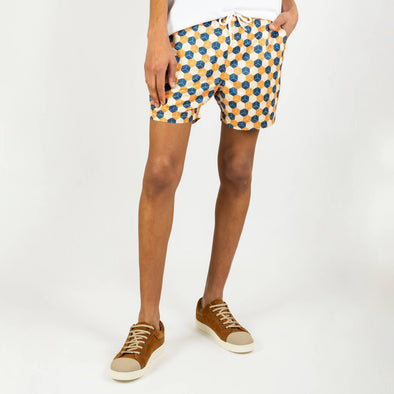 Printed drawstring swim shorts in a soft, lightweight, quick dry fabric.