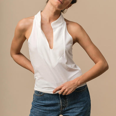 White collar top in comfortable jersey.