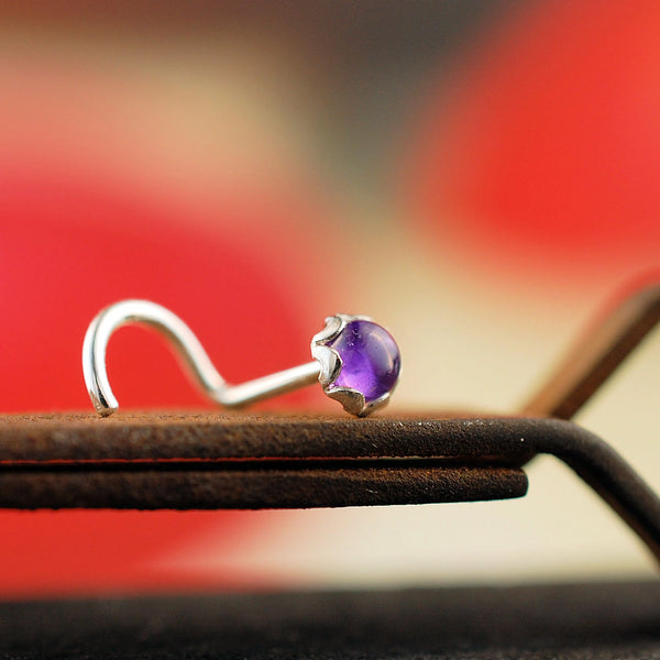Amethyst and Silver Nose Stud in Filigree