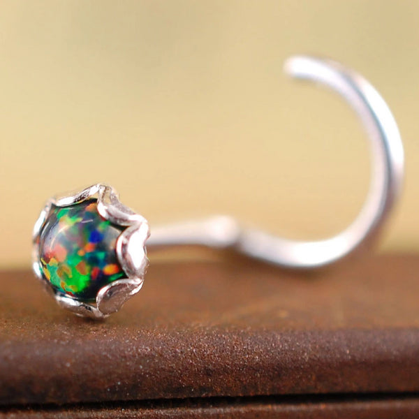 Black Opal and Silver Nose Stud in Filigree