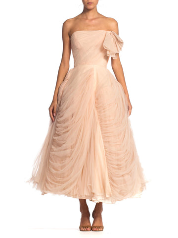 1950'S Pink Blush Draped Tulle Strapless Gown