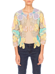 1980s Pastel Floral Hand Crocheted Cotton Spring Jacket