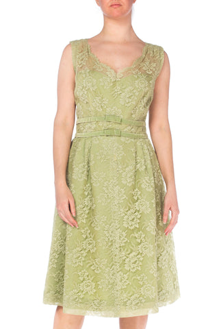 1950s Green Lace Dress With Velvet Ribbon and Bows