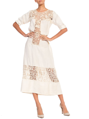 Edwardian Organic Linen Dress With Irish Crochet Lace