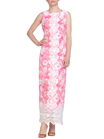 Pink Floral Print Sleeveless Dress with Floral Lace Detail and Trim