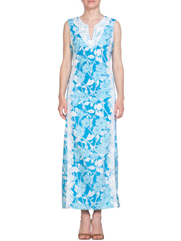 Blue Floral Print Sleeveless Dress with Floral Lace Detail
