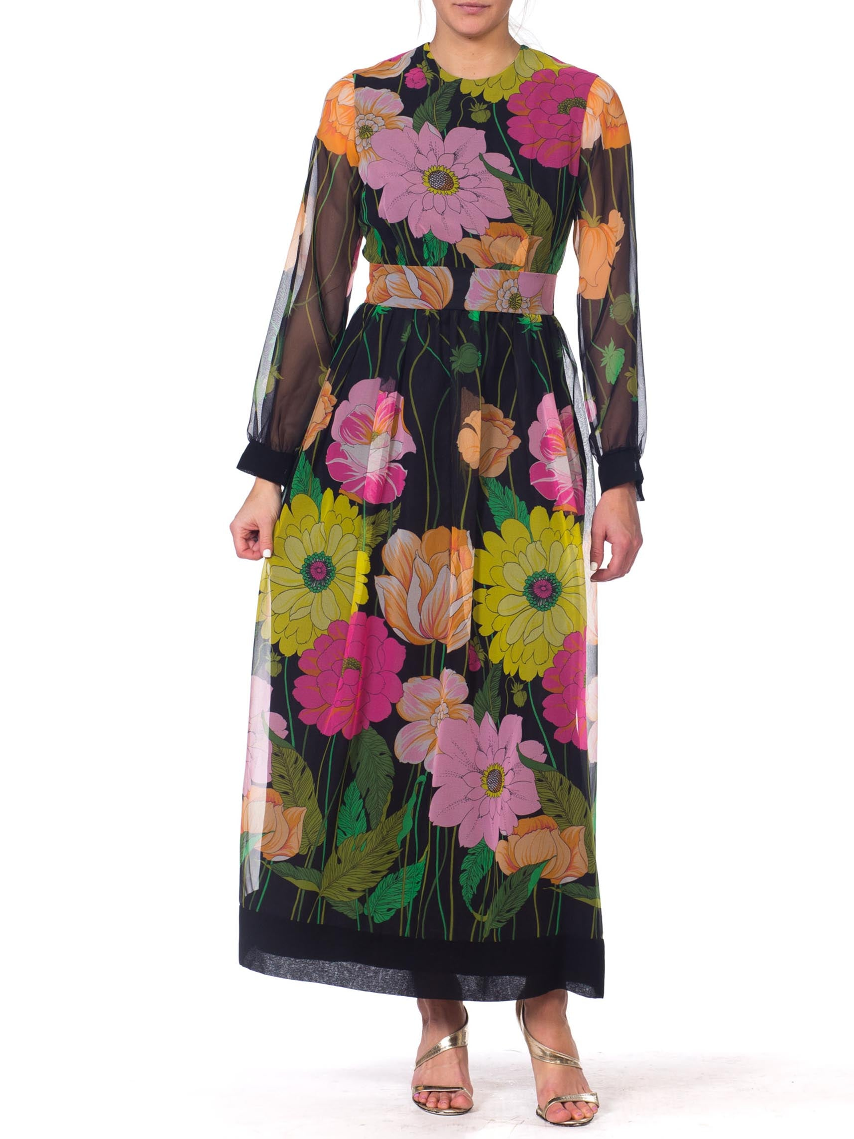 1970s Large Scale Floral Chiffon Dress