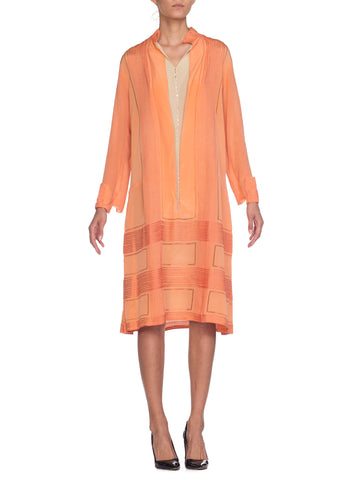 Orange Embroidered Silk Shift Dress With Faux Shirt Front Detail