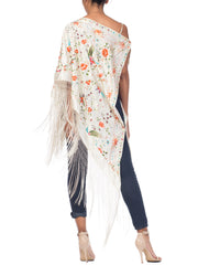 Fringed One Shoulder Top Made from Chinese Vintage Embroidered White Silk Piano Shawl