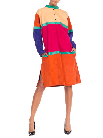 1980s Color Blocked Leather & Suede Dress
