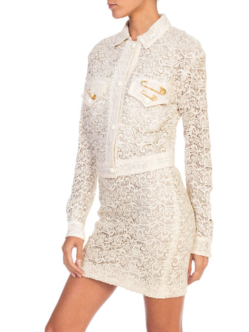 1990s Gianni Versace Punk Safety Pin Collection Cream Lace Dress & Jacket