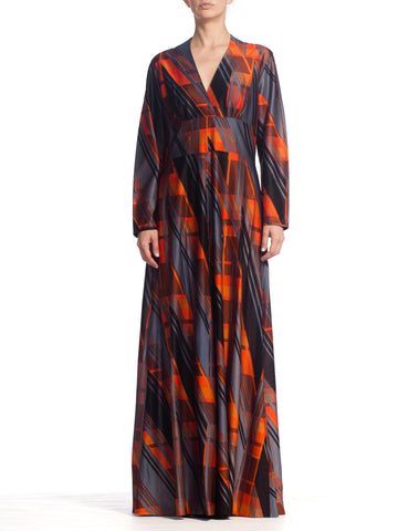 1970'S Disco Geometric Maxi Dress