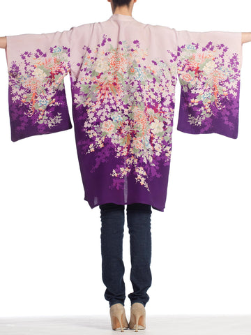 1950S Japanese Rayon Kimono In Purple With Flowers