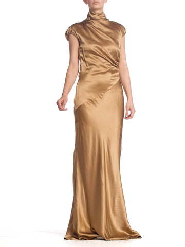 1990S Hugo Boss Gold Bias Cut Silk Satin Gown