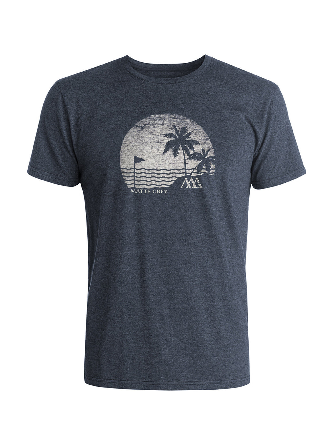 Island Front 9 Tee - Navy Heather (White)