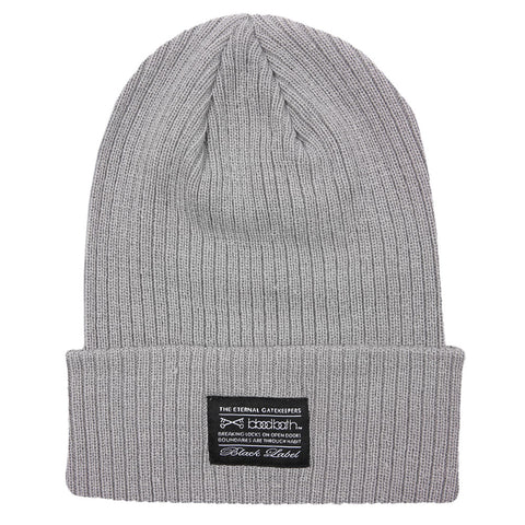 Label Ribbed Knit Beanie - Grey