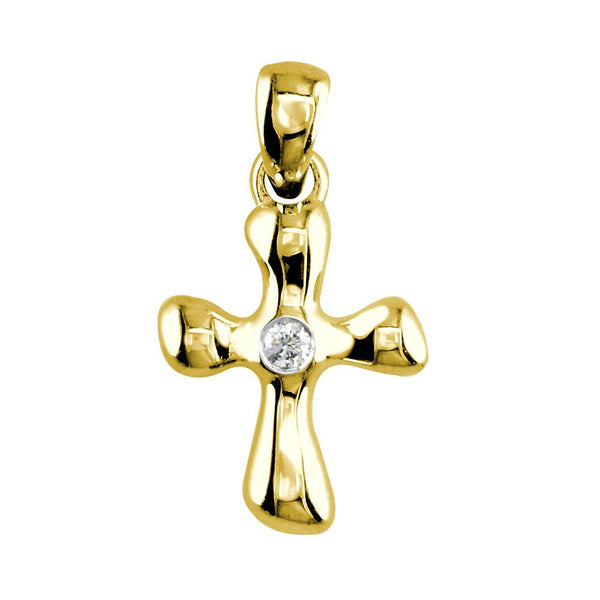 Small Free Form 3D Diamond Cross Charm, 13mm in 14K Yellow Gold