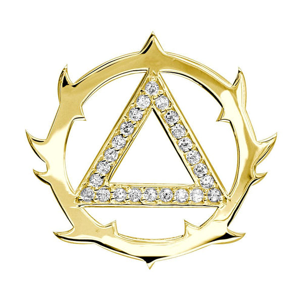 Tribal Look Diamond AA Alcoholics Anonymous Sobriety Pendant, 0.40CT in 14K Yellow Gold