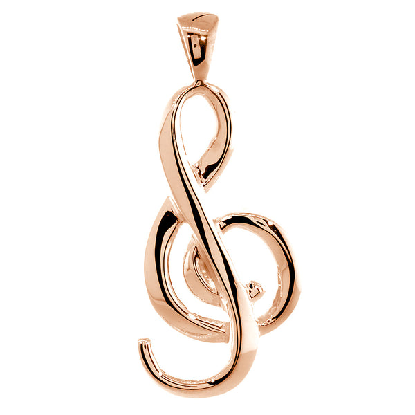 Flowing Treble Clef Charm, 32mm, Bail in 14k Pink, Rose Gold