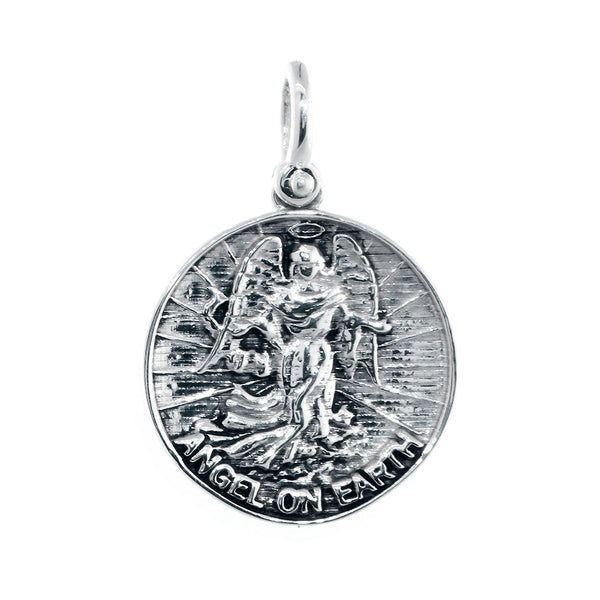 Angel on Earth Coin Charm, 22mm in Sterling Silver