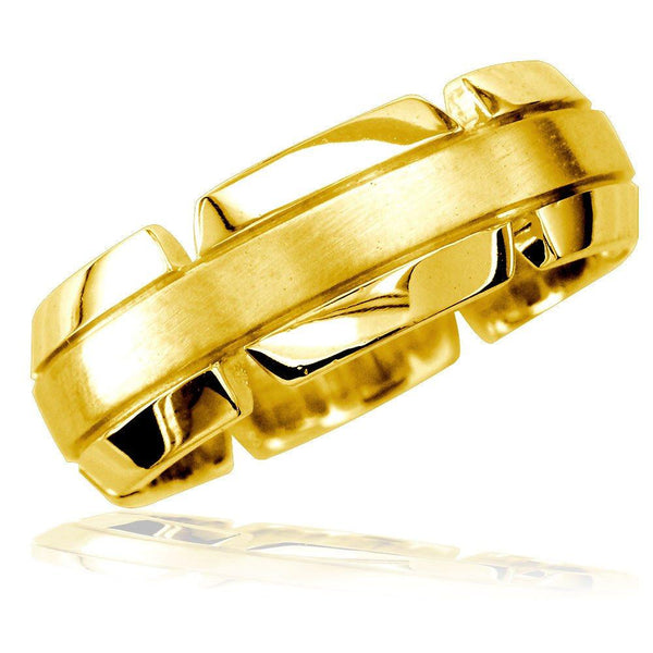 Virtu Mens 8mm Band in 18K Yellow Gold, Satin Middle, Polished and Notched Sides