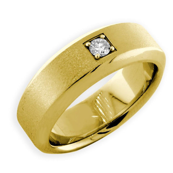 Mens Beveled Edge Diamond Wedding Band, 0.10CT in 14k Yellow Gold