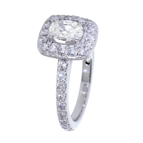 Complete Oval Diamond Halo Engagement Ring in 14k White Gold