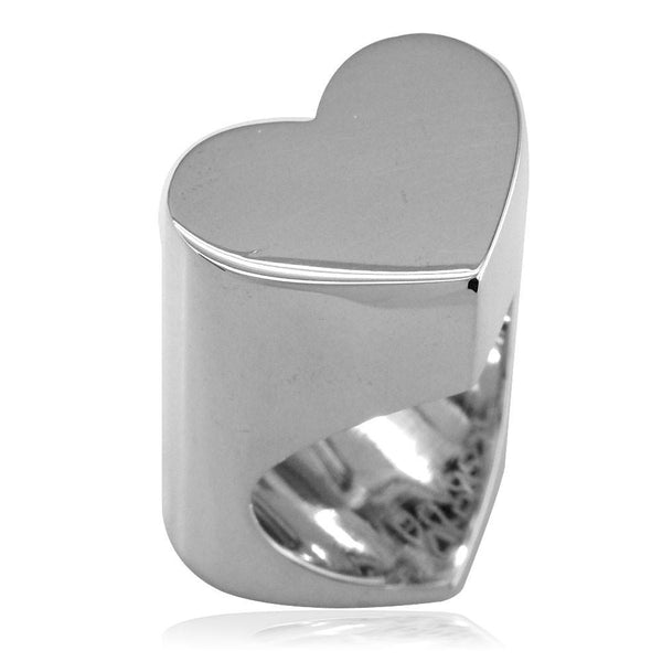 Large Flat Heart Ring in 14k White Gold