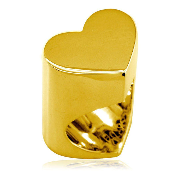 Large Flat Heart Ring in 18k Yellow Gold