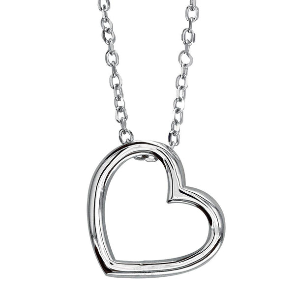 Open Heart Charm and Chain in 14K White Gold