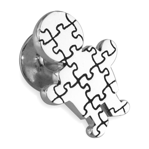 Large Autism Awareness Puzzle Boy Pin in 14k White Gold with Black