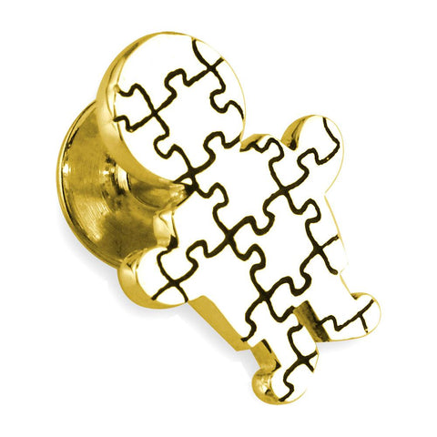 Large Autism Awareness Puzzle Boy Pin in 14k Yellow Gold with Black