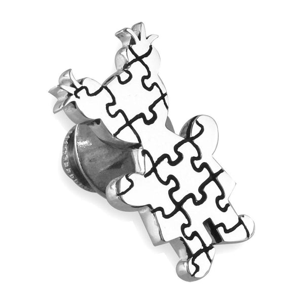 Large Autism Awareness Puzzle Girl Pin in 14k White Gold with Black