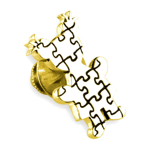 Large Autism Awareness Puzzle Girl Pin in 14k Yellow Gold with Black