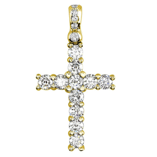 Diamond Cross Pendant, 2.00CT in 18K yellow gold