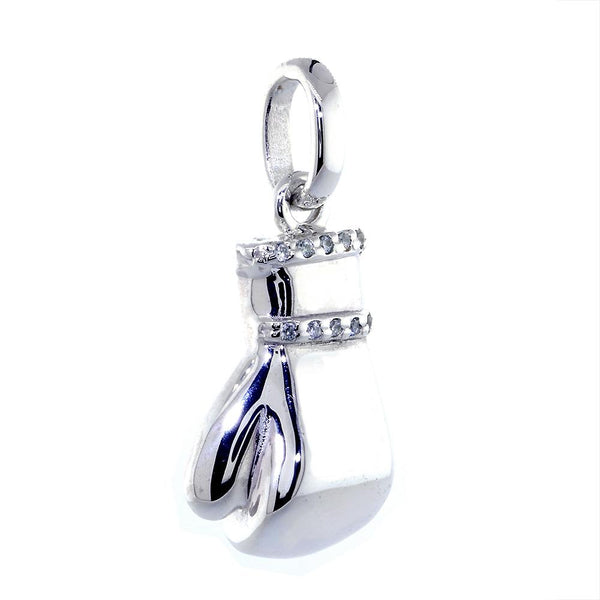 Left Handed Boxing Glove Pendant with Cubic Zirconias, 1 Inch in Sterling Silver