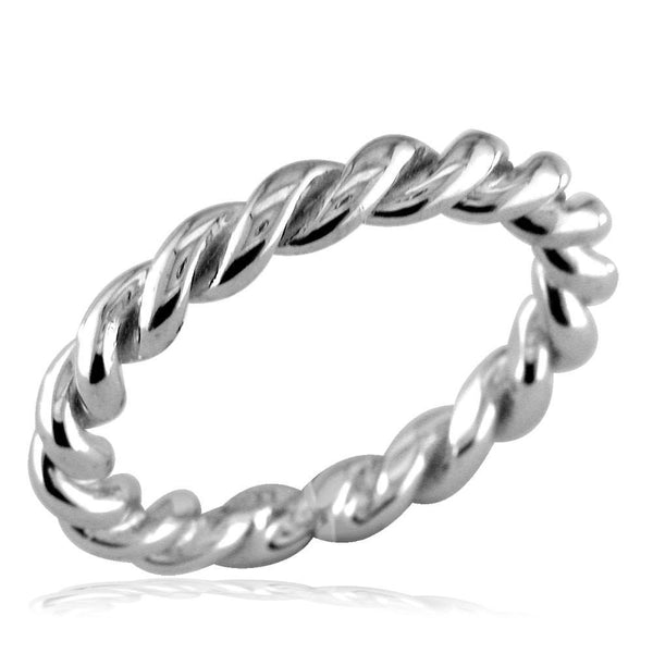 Stackable Ladies Rope Ring in 14k White Gold