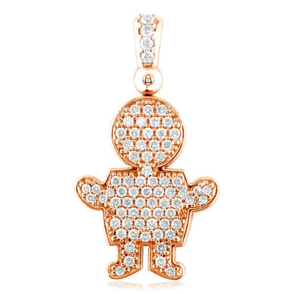 Extra Large Diamond Kids Sziro Boy Pendant for Mom, Grandma in 14k Pink Gold
